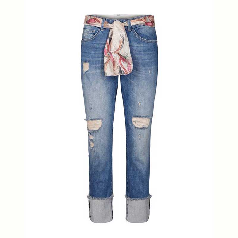 Mos Mosh jeans with turn up and floral belt