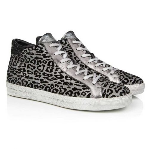 ALTO: PEWTER LEOPARD PRINT LEATHER HIGH TOP TRAINER