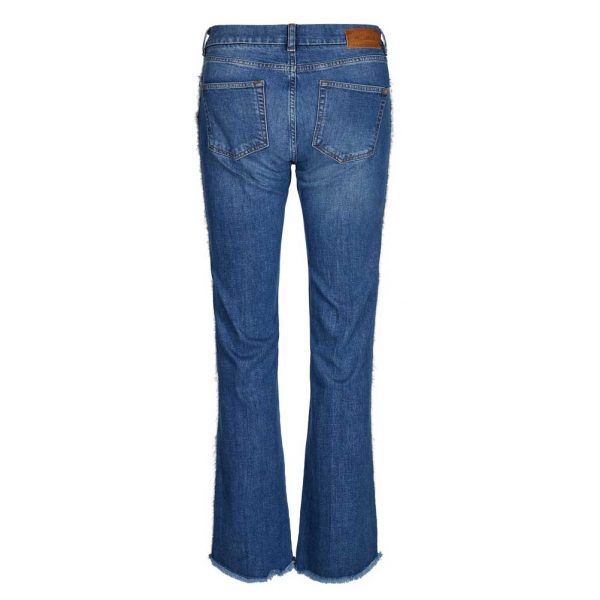 mos mosh percy frill flare jean with fray detail at hem and down the sides