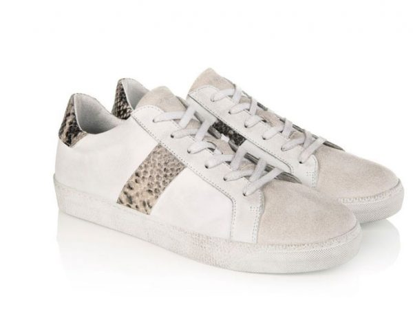 Air & Grace Cru White and Natural Snake Print Trainer