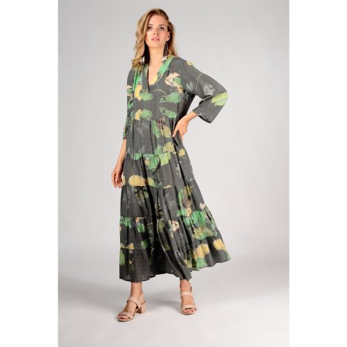 Grizas Maxi Flared Waterlilies Print Bamboo Dress
