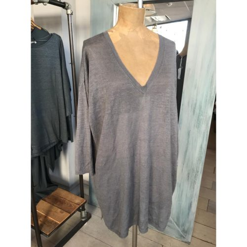 Ochre One Size V-Neck Linen Knit