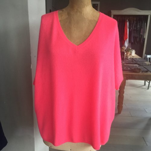Absolute Cashmere Kate Oversized Sweater Rose Fluo